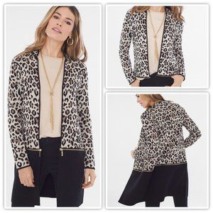 CHICO'S Sz 1 (M) Leopard Cardigan Open Convertible